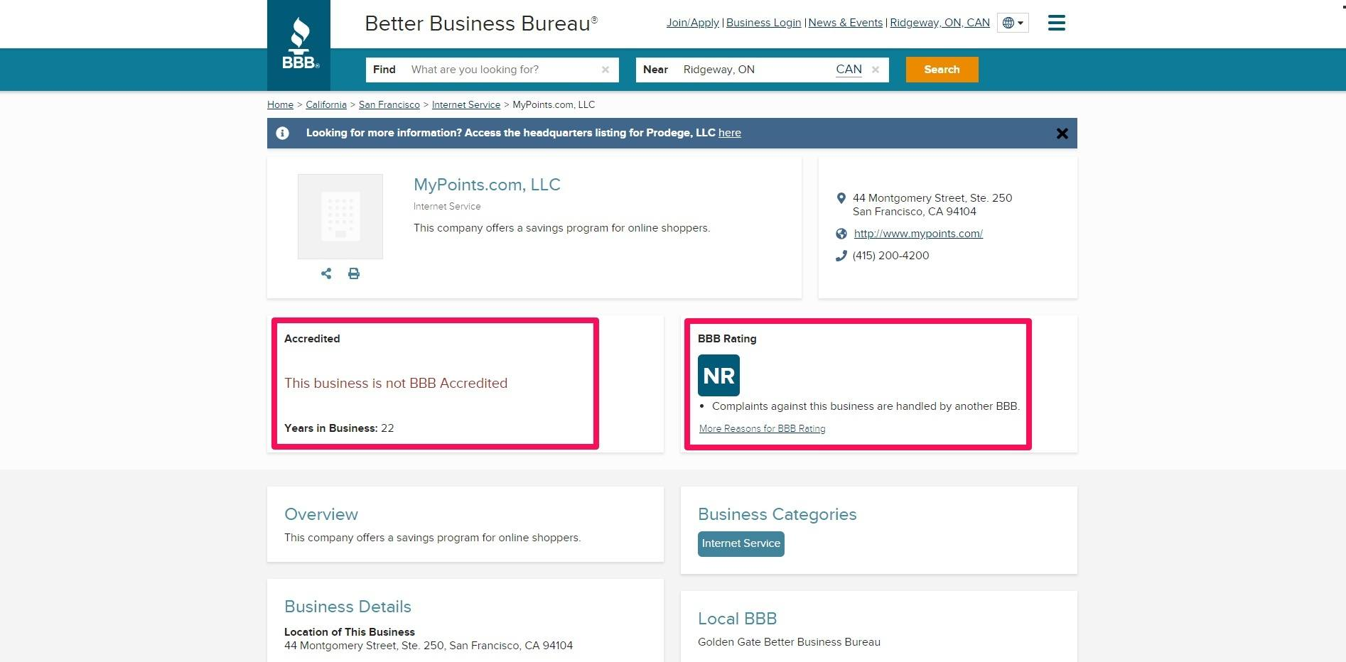 Better Business Bureau homepage
