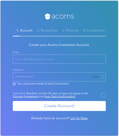 Acorns Sign Up page 1