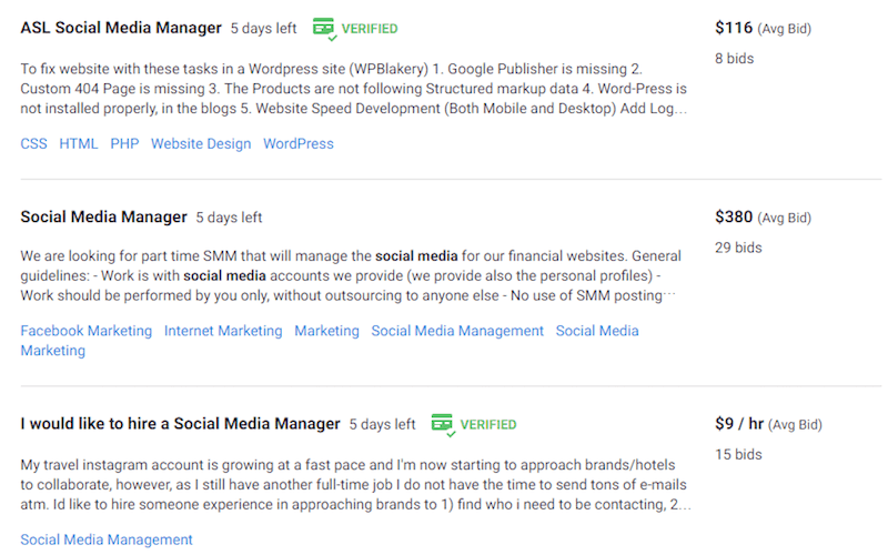 social media jobs for college students
