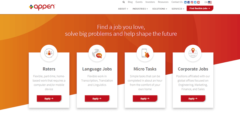 Appen homepage with jobs for college students