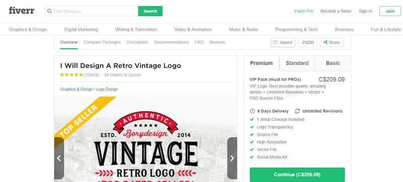 fiverr inner page