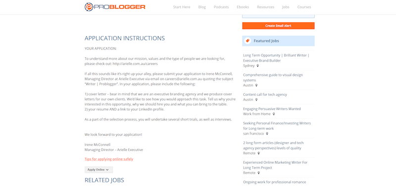 problogger application instructions