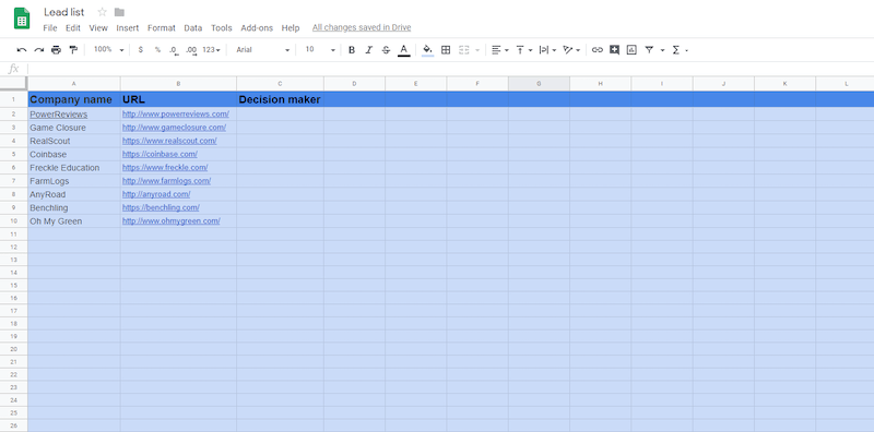 Prospect spreadsheet for freelance writers