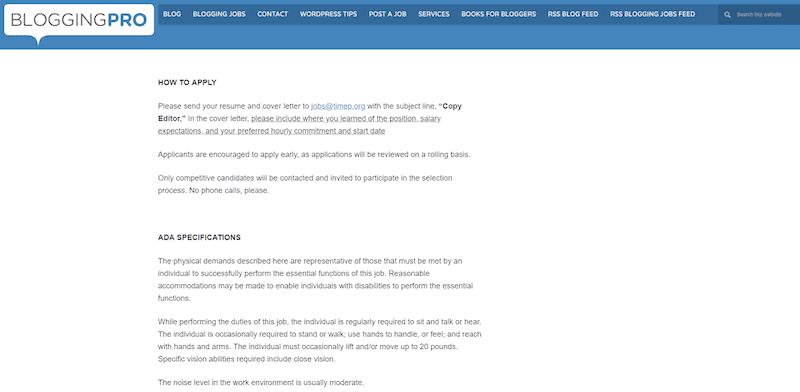 BloggingPro Job Description for freelance writers