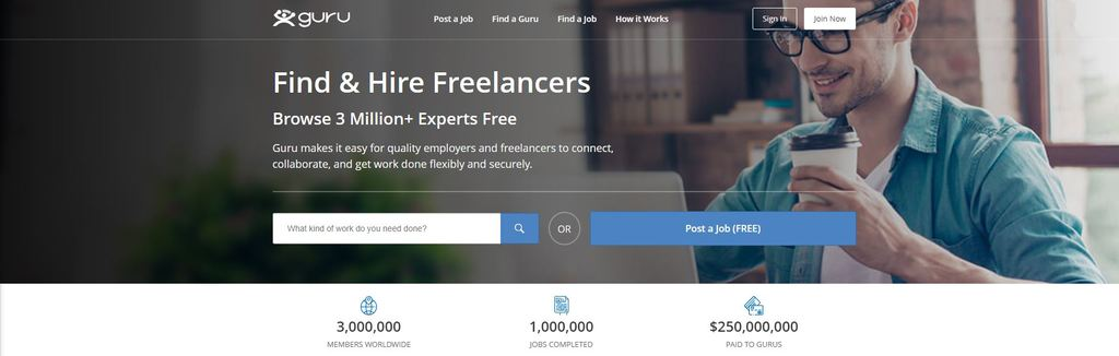 Guru Freelancer Homepage