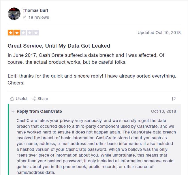 TrustPilot Review  of Cash Crate