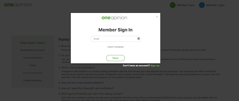 OneOpinion Login
