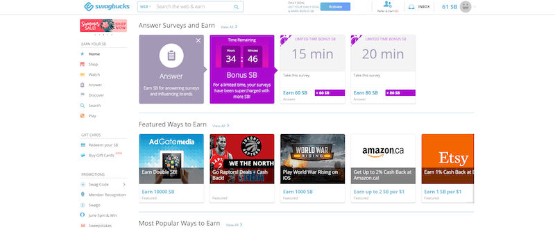 Earn Swagbucks for free Gift Cards