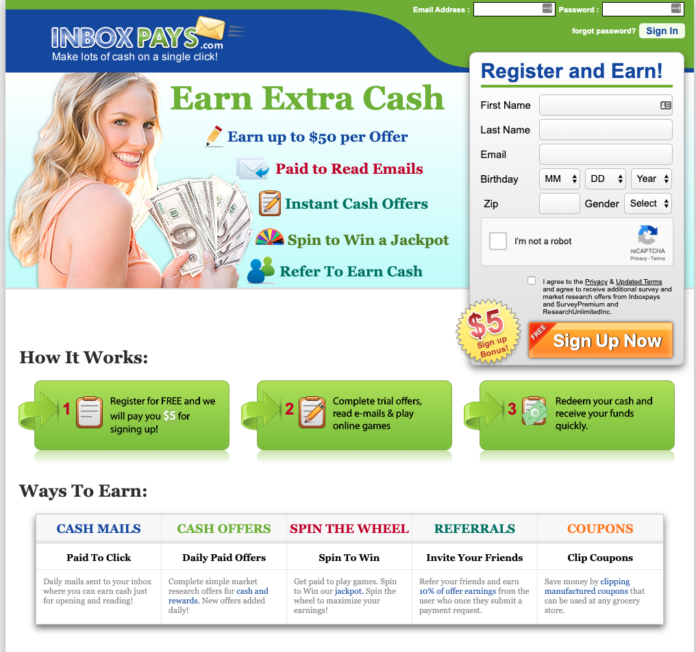 InboxPays Homepage