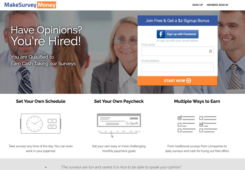 MakeSurveyMoney Homepage